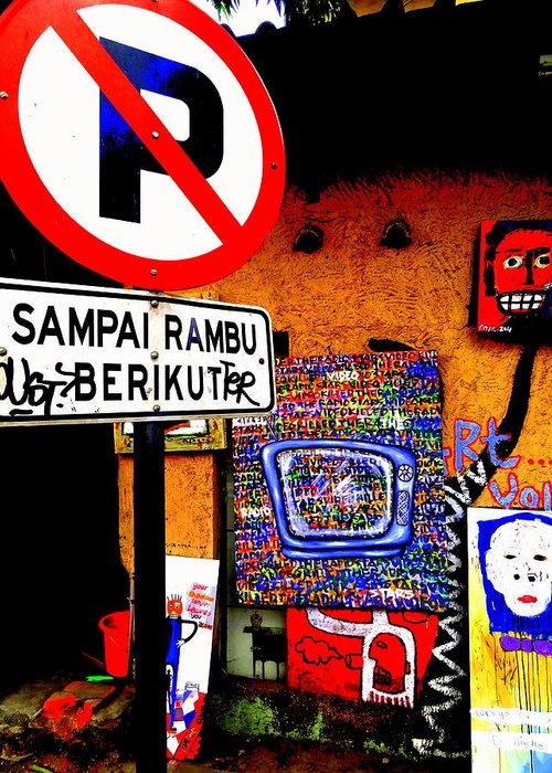 Bali Greeting Card featuring the photograph Ubud Art Street by Funkpix Photo Hunter