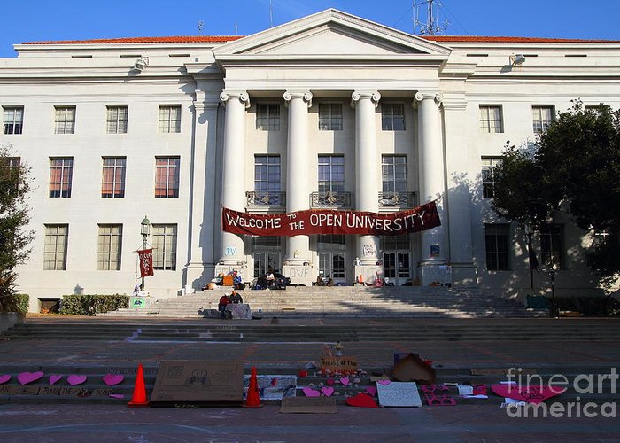 Sproul Greeting Card featuring the photograph Uc Berkeley . Sproul Hall . Sproul Plaza . Occupy Uc Berkeley . 7d10017 by Wingsdomain Art and Photography