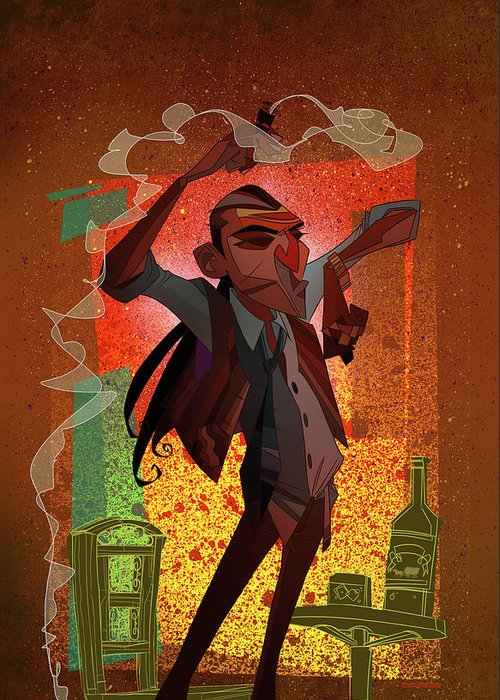 Gypsy Greeting Card featuring the digital art Un Hombre by Nelson Dedos Garcia