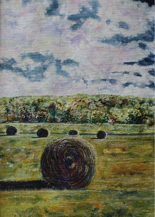 Turbulent Skies Greeting Card featuring the painting Uncertain Skies by Patsy Sharpe