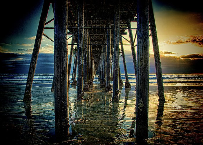 Sunset Greeting Card featuring the photograph Under The Boardwalk by Chris Lord