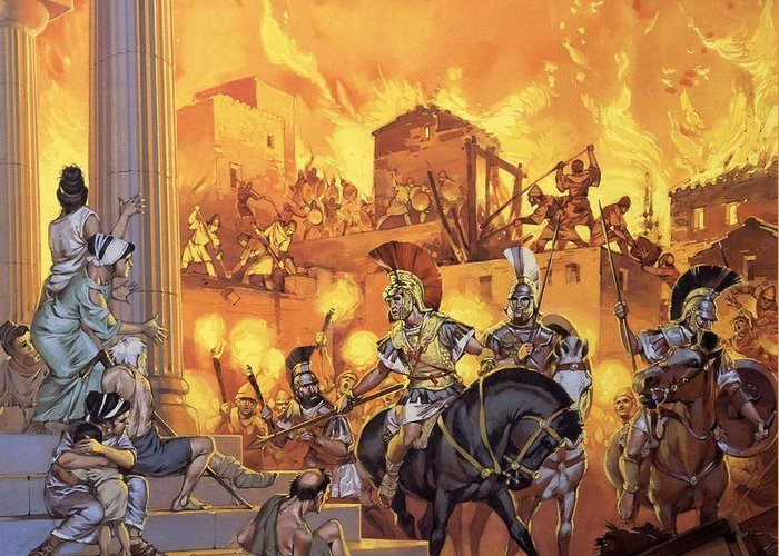 Rome; Ancient Rome; Romans; Attack; Destruction; Fire; Soldiers; Flames; Temple Greeting Card featuring the painting Unidentified Roman Attack by Angus McBride