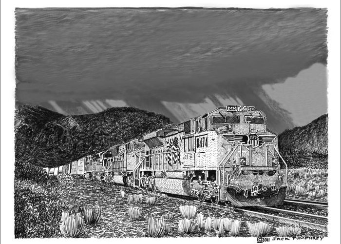 Framed Prints And Note Cards Of Ink Drawings Of Scenic Southern New Mexico. Framed Canvas Prints Of Pen And Ink Images Of Southern New Mexico. Black And White Art Of Southern New Mexico Greeting Card featuring the drawing Union Pacific Diesels And Monsoon by Jack Pumphrey