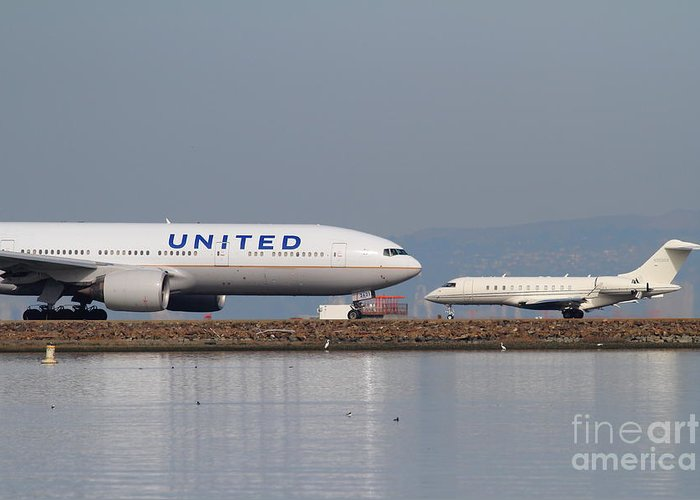 United Greeting Card featuring the photograph United Airlines Jet Airplane At San Francisco International Airport Sfo . 7d12081 by Wingsdomain Art and Photography