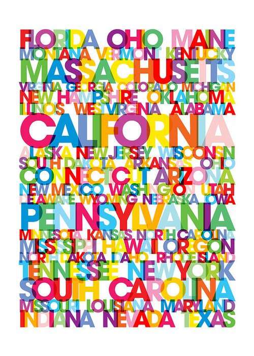 Usa Map Greeting Card featuring the digital art United States Usa Text Bus Blind by Michael Tompsett