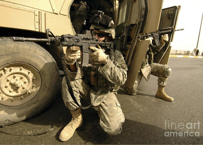 Operation Iraqi Freedom Greeting Card featuring the photograph U.s. Army Soldiers Providing Overwatch by Stocktrek Images