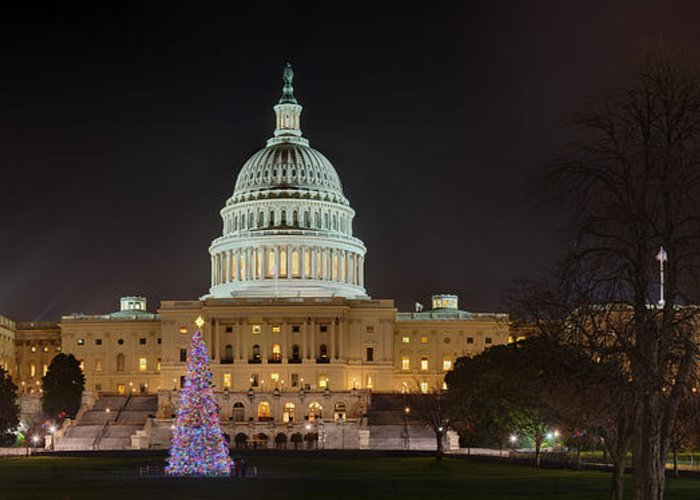 Metro Greeting Card featuring the photograph U.s. Capitol Christmas Tree 2009 by Metro DC Photography