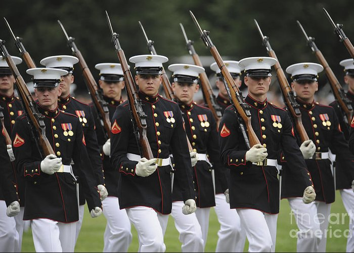 Parade Greeting Card featuring the photograph U.s. Marines March By During The Pass by Stocktrek Images