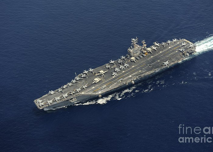 No People Greeting Card featuring the photograph Uss Abraham Lincoln Transits The Indian by Stocktrek Images