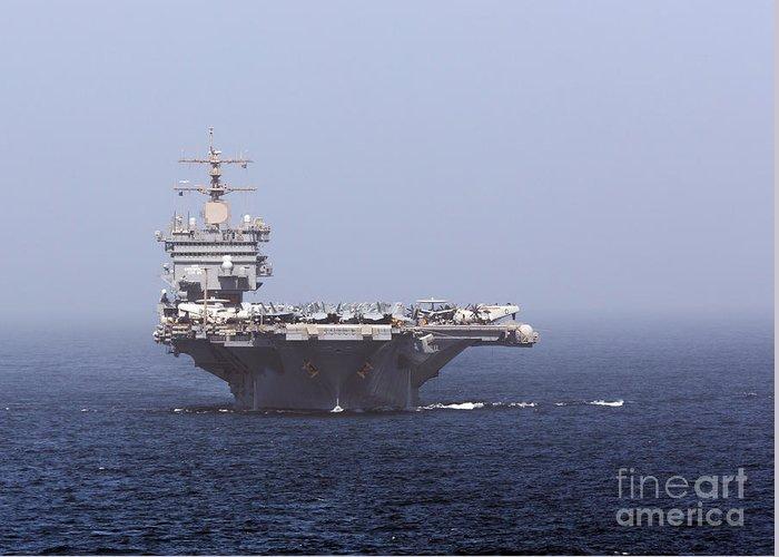 Arabian Sea Greeting Card featuring the photograph Uss Enterprise In The Arabian Sea by Gert Kromhout