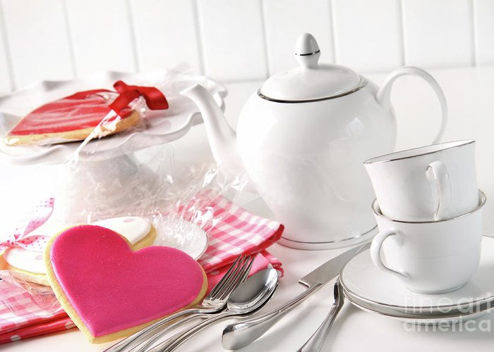 Anniversary Greeting Card featuring the photograph Valentine Cookies With Teapot And Cups by Sandra Cunningham