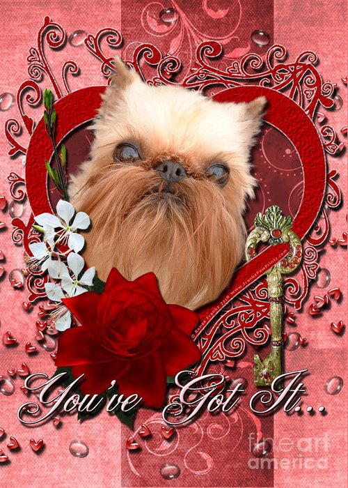 Brussels Griffon Greeting Card featuring the digital art Valentines - Key To My Heart Brussels Griffon by Renae Laughner
