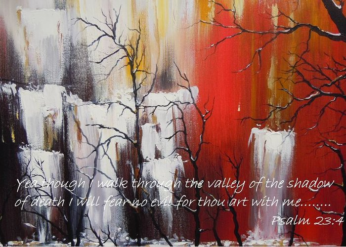 Psalm 23:4 Poster Greeting Card featuring the painting Valley Of Shadows Poster by Dan Whittemore