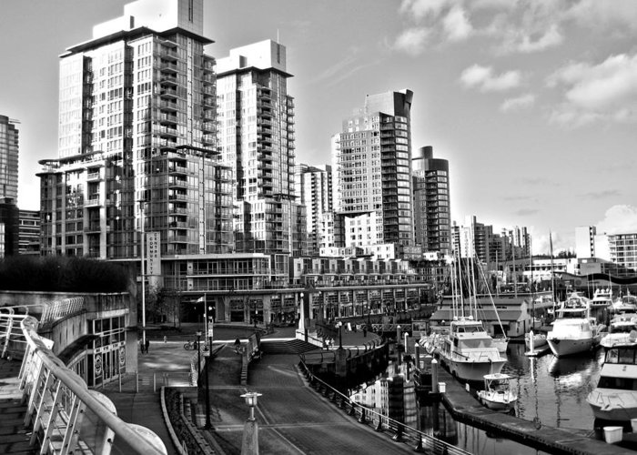 Vancouver Harbour Greeting Card featuring the photograph Vancouver Harbour Bw by Kamil Swiatek