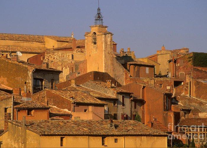 Architecture Greeting Card featuring the photograph Village De Roussillon. Luberon by Bernard Jaubert
