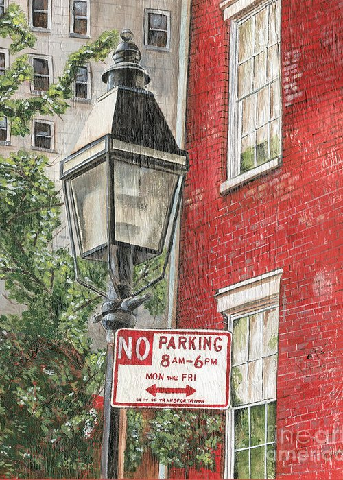 Nyc Greeting Card featuring the painting Village Lamplight by Debbie DeWitt