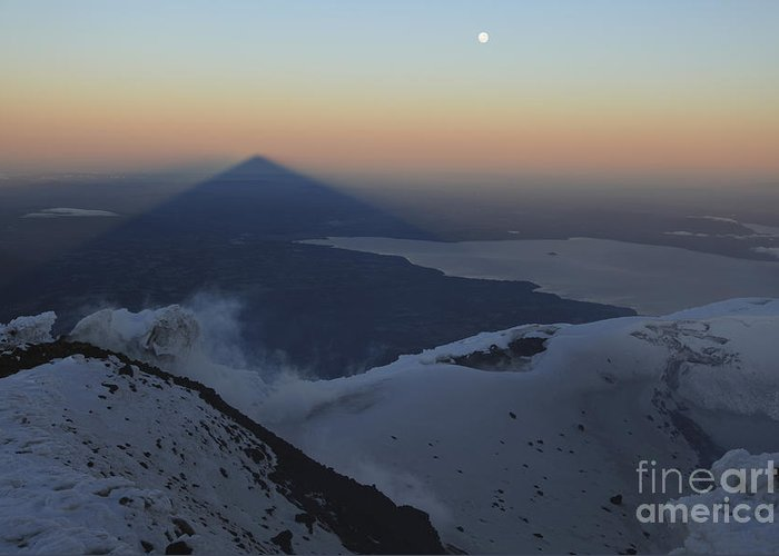 No People Greeting Card featuring the photograph Villarrica, Summit View With Shadow by Martin Rietze