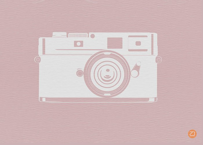 Greeting Card featuring the digital art Vintage Camera Poster by Naxart Studio