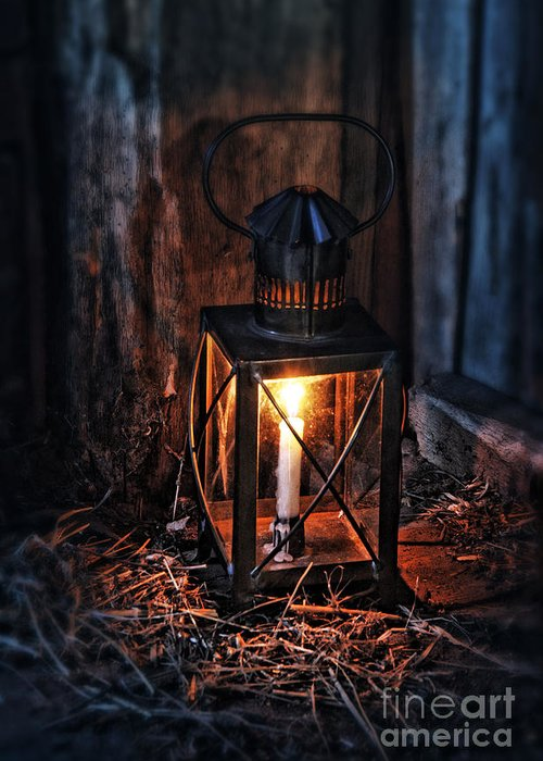 Lantern Greeting Card featuring the photograph Vintage Lantern In A Barn by Jill Battaglia