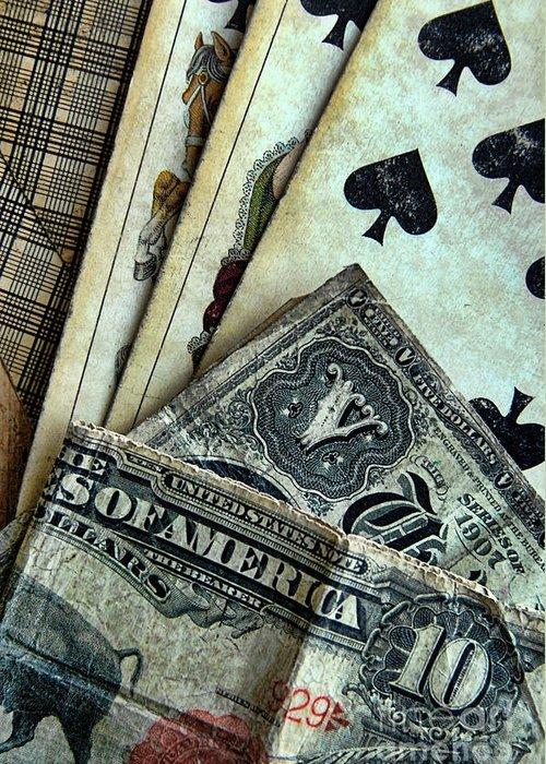 Cards Greeting Card featuring the photograph Vintage Playing Cards And Cash by Jill Battaglia