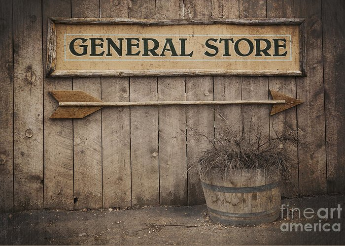 Aged Greeting Card featuring the photograph Vintage Sign General Store by Jane Rix