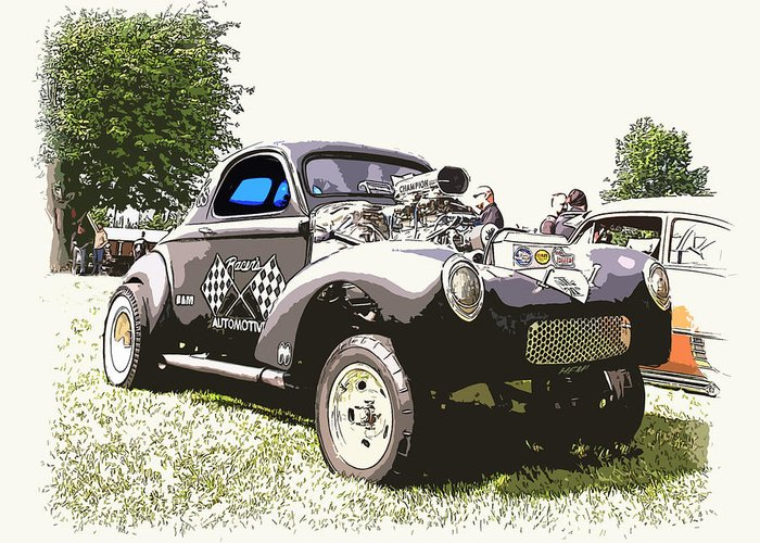 Hot Rod Greeting Card featuring the photograph Vintage Willys Gasser by Steve McKinzie