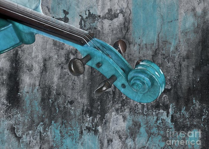 Violin Greeting Card featuring the photograph Violinelle - Turquoise 04d2 by Variance Collections