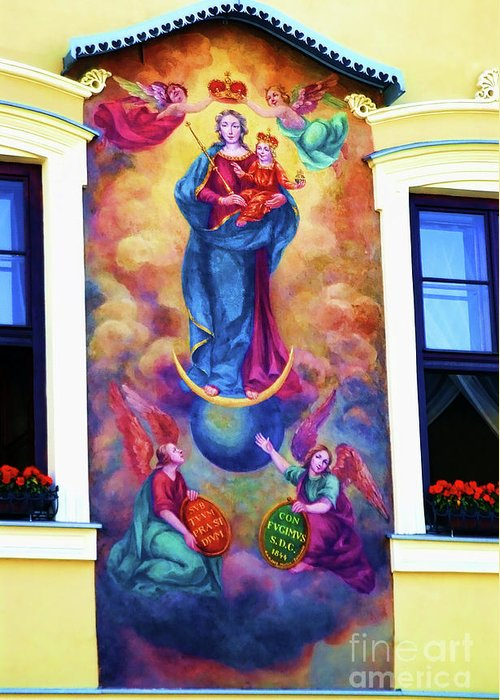 Virgin Mary Mural Greeting Card featuring the photograph Virgin Mary Mural by Mariola Bitner