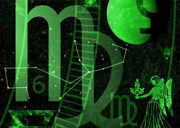 Horoscope Greeting Card featuring the digital art Virgo by JP Rhea