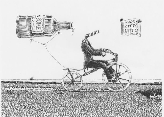 Velocipede Greeting Card featuring the drawing Vos Sitis Audio by Canis Canon
