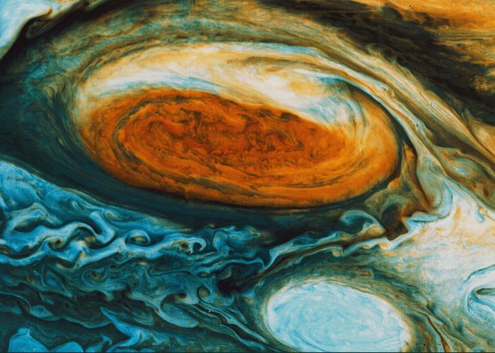 Color Image Greeting Card featuring the photograph Voyagers View Of The Great Red Spot, An by Nasa