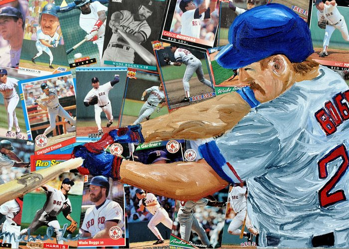 Major Leaue Baseball Greeting Card featuring the painting Wade Boggs by Michael Lee