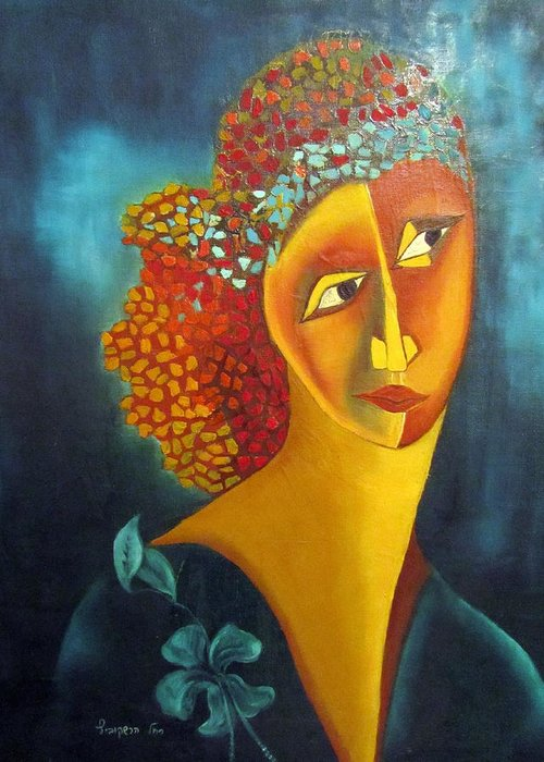 Orange Greeting Card featuring the painting Waiting For Partner Orange Woman Blue Cubist Face Torso Tinted Hair Bold Eyes Neck Flower On Dress by Rachel Hershkovitz