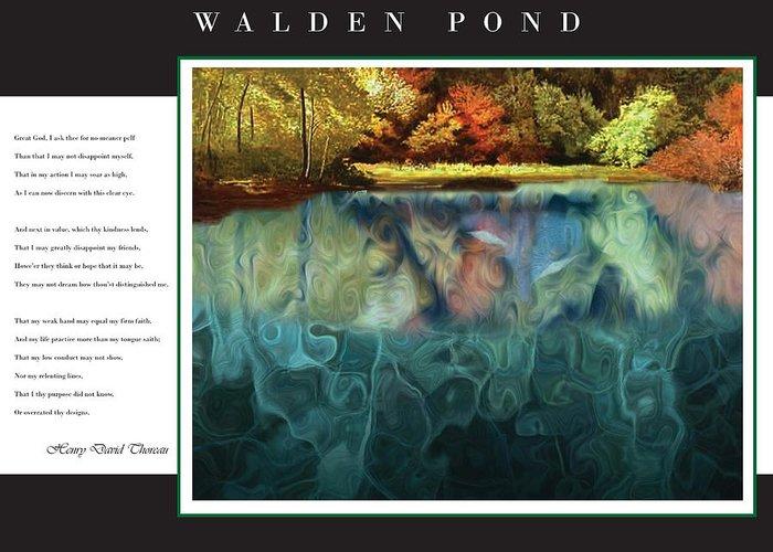 Walden Greeting Card featuring the digital art Walden Pond by David Glotfelty