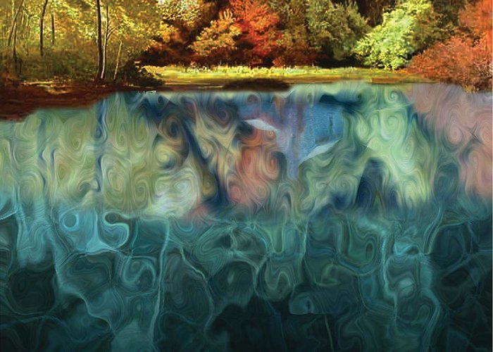 Walden Greeting Card featuring the digital art Walden Pond II by David Glotfelty