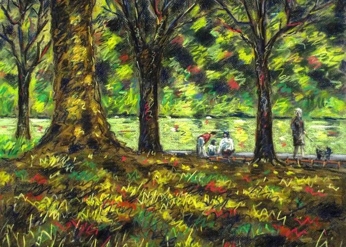 Landscape Greeting Card featuring the pastel Walk In The Park by John Nolan