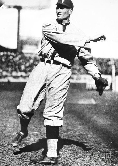 1925 Greeting Card featuring the photograph Walter Johnson (1887-1946) by Granger