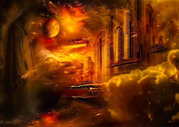 Art Greeting Card featuring the digital art War And Death by Svetlana Sewell