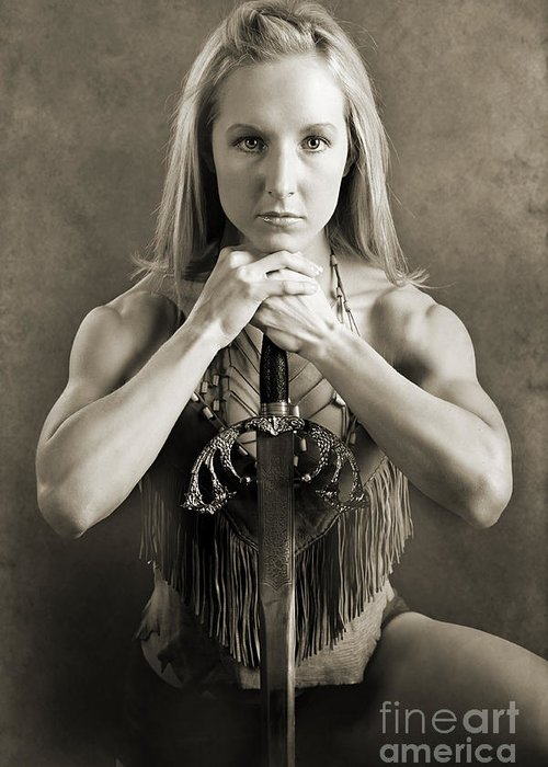 Woman Greeting Card featuring the photograph Warrior Woman by Cindy Singleton
