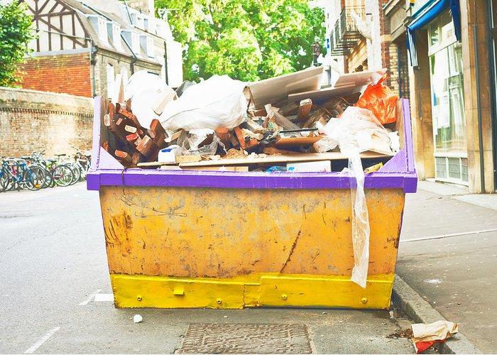Background Greeting Card featuring the photograph Waste Skip by Tom Gowanlock