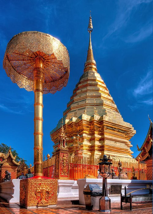 Architecture Greeting Card featuring the photograph Wat Phrathat Doi Suthep by Adrian Evans