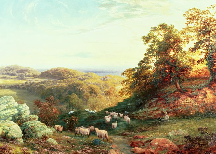 Watching The Flock Greeting Card featuring the painting Watching The Flock by George Vicat Cole