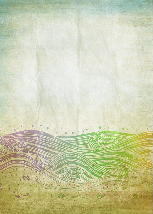 Abstract Greeting Card featuring the digital art Water Pattern On Old Paper by Setsiri Silapasuwanchai