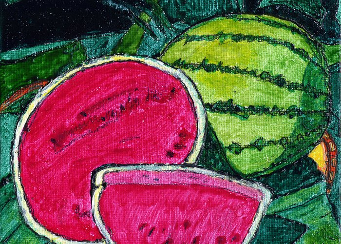 Watermelon Greeting Card featuring the painting Watermelon Moonshine by Phil Strang