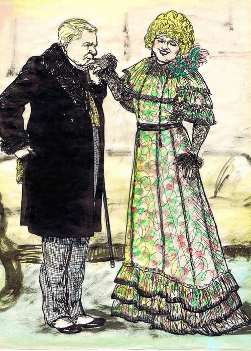 Nostalgia Greeting Card featuring the drawing W.c.fields And Jan by Mel Thompson