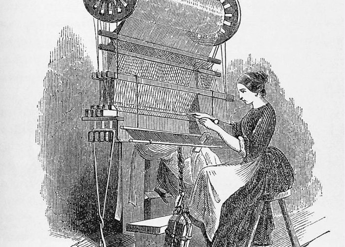 1849 Greeting Card featuring the photograph Weaving Loom by �science, �industry & Business Librarynew York Public Library