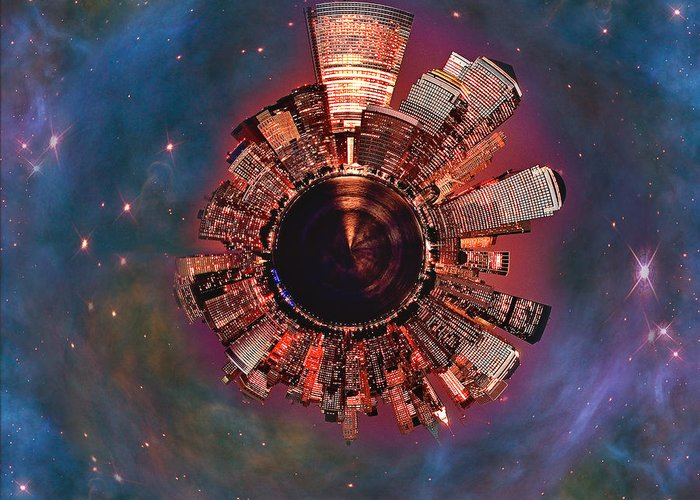 Manhattan Greeting Card featuring the digital art Wee Manhattan Planet by Nikki Marie Smith