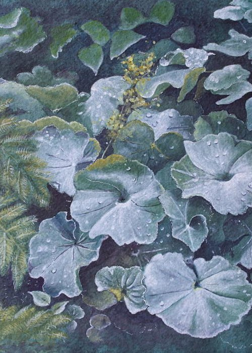 Surreal Landscape Greeting Card featuring the painting Weeping Ladies Mantle by Patsy Sharpe