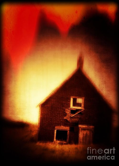 Scary Greeting Card featuring the photograph Welcome To Hell House by Edward Fielding