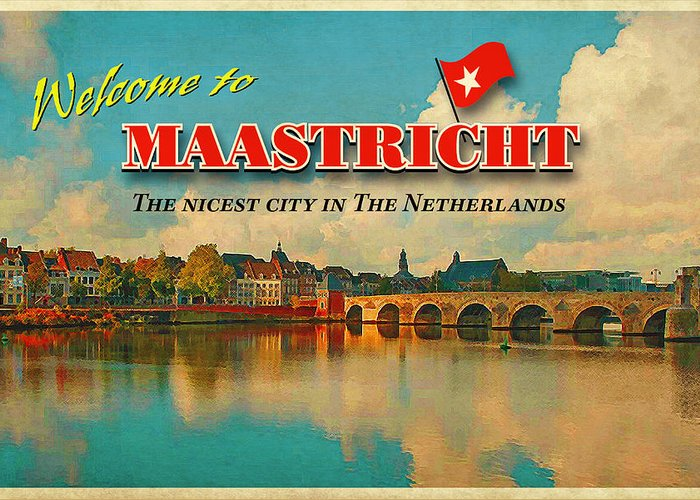 Vintage Card Greeting Card featuring the photograph Welcome To Maastricht by Nop Briex